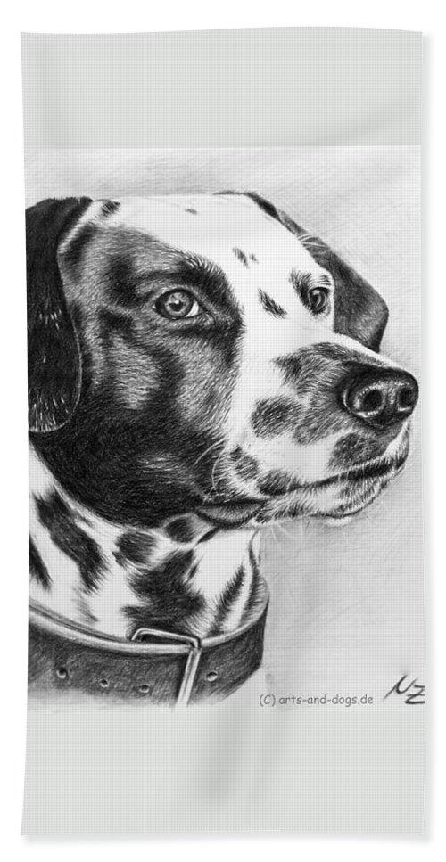 Dog Bath Towel featuring the drawing Dalmatian Portrait by Nicole Zeug