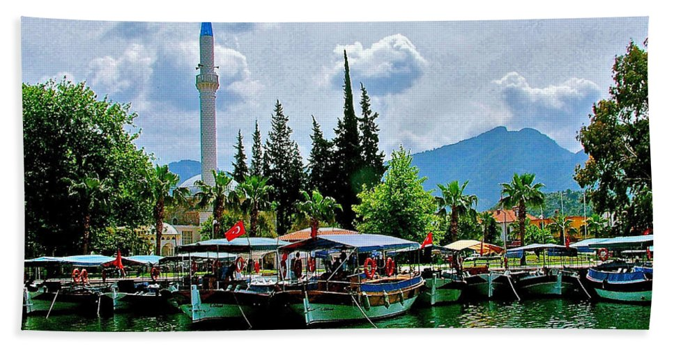 Dalyan Riverfront Bath Sheet featuring the photograph Dalyan Riverfront-turkey by Ruth Hager