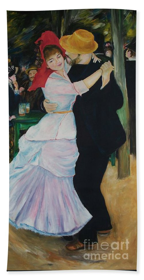 Impressionism Hand Towel featuring the painting Dance At Bougival Renoir by Eric Schiabor