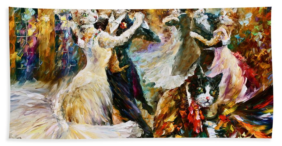 Cat Bath Towel featuring the painting Dance Ball of Cats by Leonid Afremov