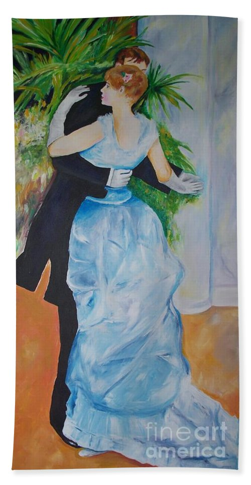 Lavender Hand Towel featuring the painting Dance In The City by Eric Schiabor