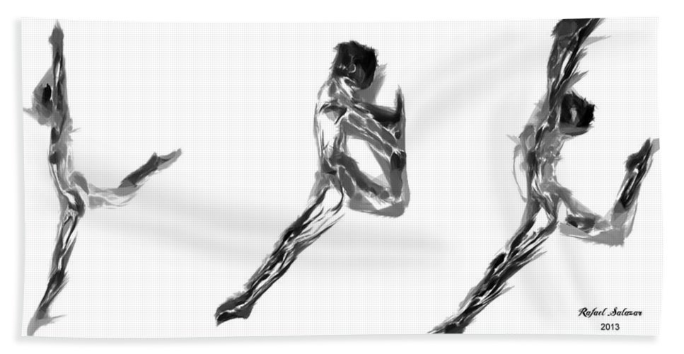 Abstract Hand Towel featuring the digital art Dance Moves by Rafael Salazar