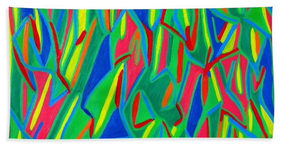 Eunice Broderick Bath Sheet featuring the painting Dance Of Colors by Eunice Broderick
