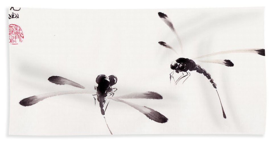 Dragonfly Hand Towel featuring the painting Dance Of The Dragonflies by Oiyee At Oystudio