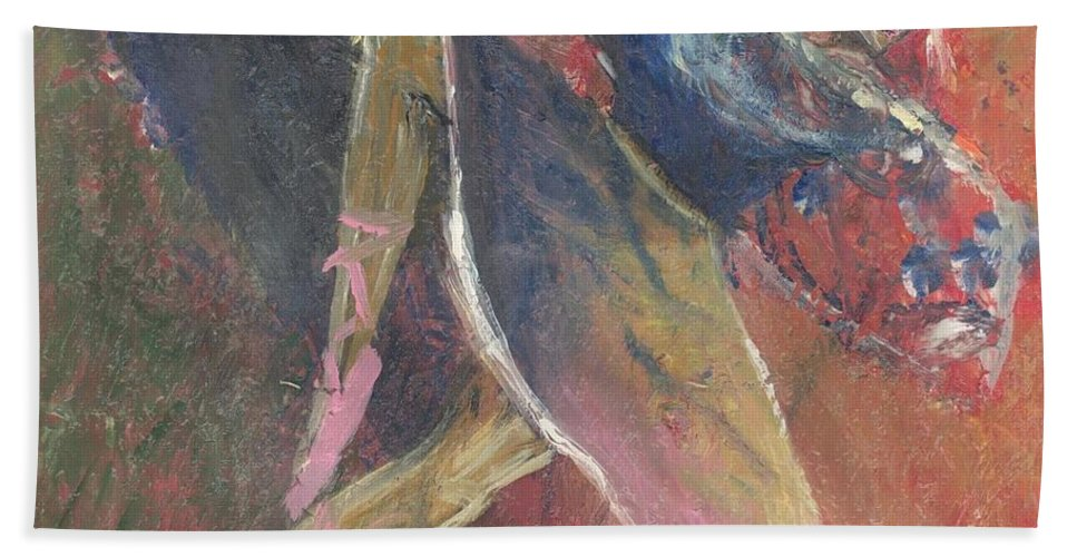 Ballerina Hand Towel featuring the painting 'dance Over Me' by Whitney Tomlin