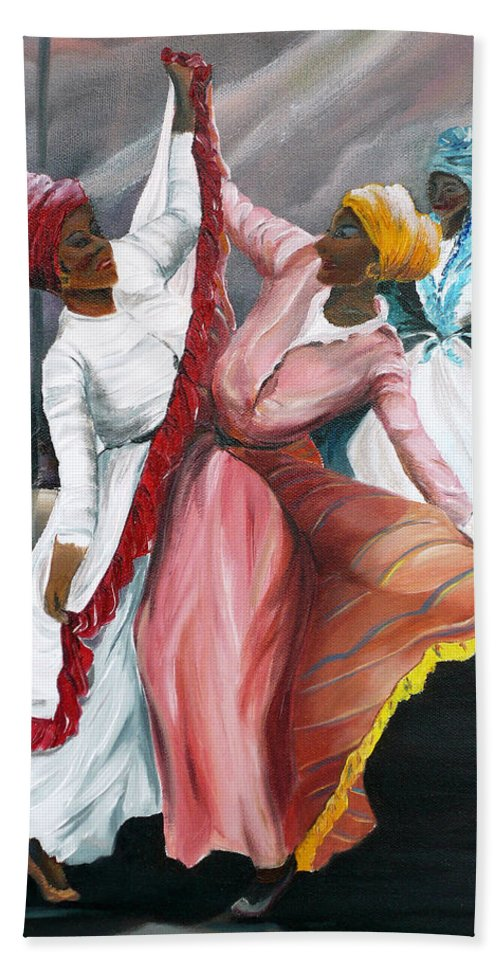 Dancers Folk Caribbean Women Painting Dance Painting Tropical Dance Painting Bath Sheet featuring the painting Dance The Pique 2 by Karin Dawn Kelshall- Best
