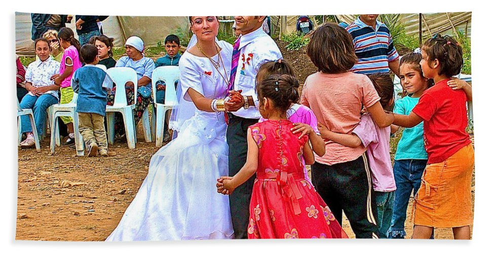 Dancing At A Turkish Wedding Near The Aegean Coast Bath Sheet featuring the photograph Dancing At A Turkish Wedding Near The Aegean Coast-turkey by Ruth Hager