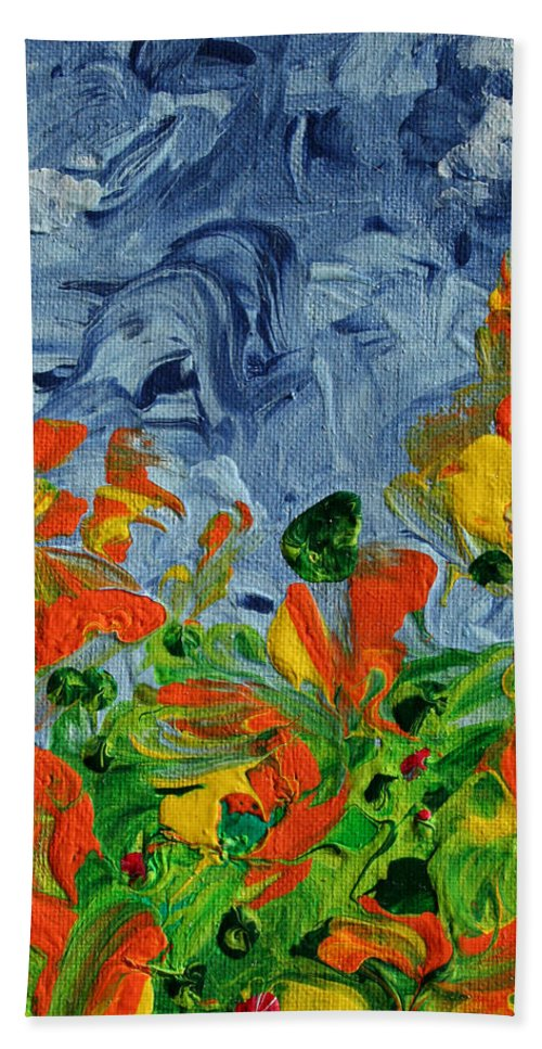 Dancing Bath Sheet featuring the painting Dancing Flowers by Ric Bascobert