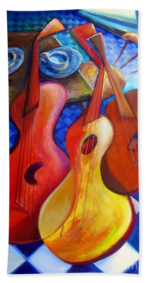 Art By Frederick Luff Hand Towel featuring the painting Dancing Guitars by Frederick Luff