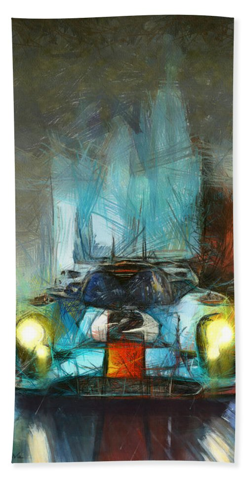 Porsche Hand Towel featuring the painting Dancing In The Rain by Tano V-Dodici ArtAutomobile