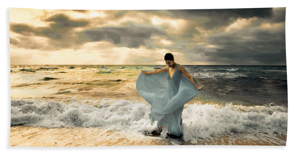 Surf Hand Towel featuring the photograph Dancing In The Surf by Matthew Pace
