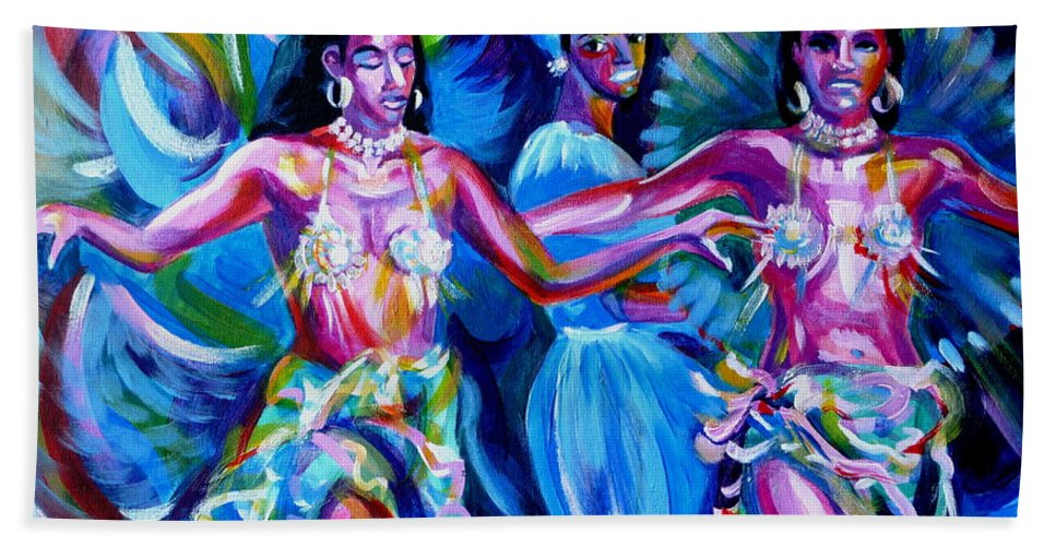 Music Bath Sheet featuring the painting Dancing Panama by Anna Duyunova