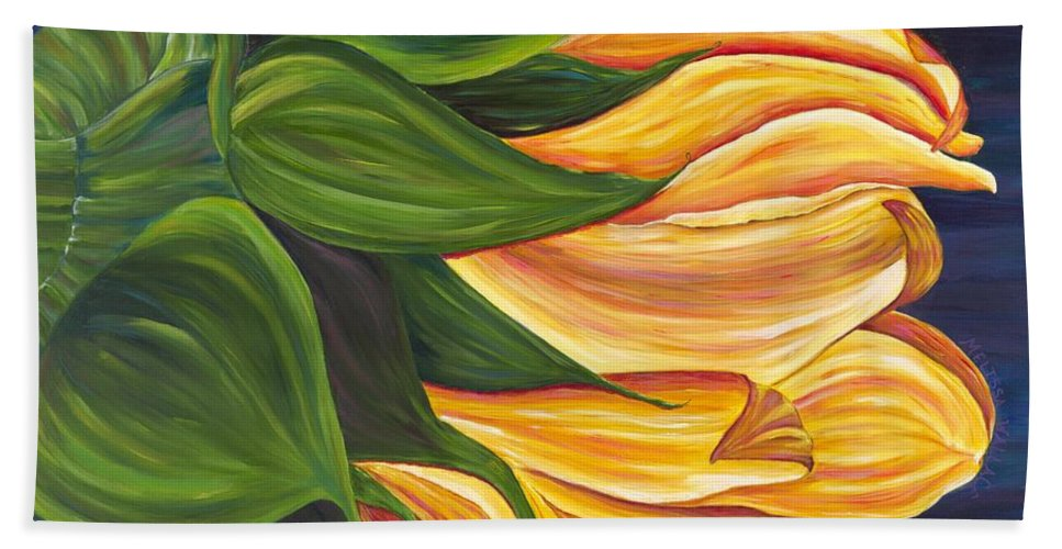 Sunflower Hand Towel featuring the painting Dancing Sunflower by Melissa Wallace