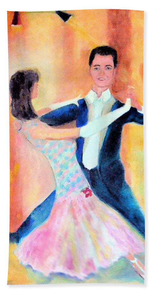 Dance Hand Towel featuring the painting Dancing Through Time by Karen Francis