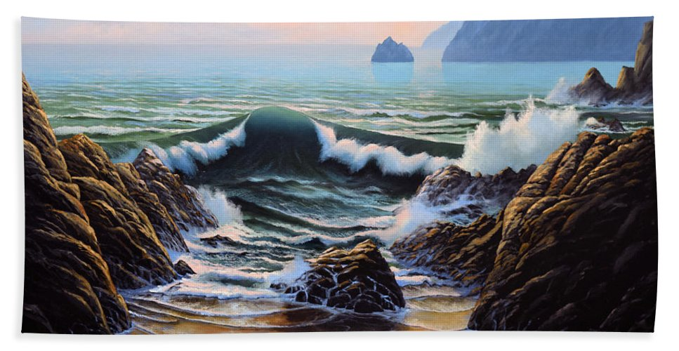 Seascape Bath Towel featuring the painting Dancing Tide by Frank Wilson