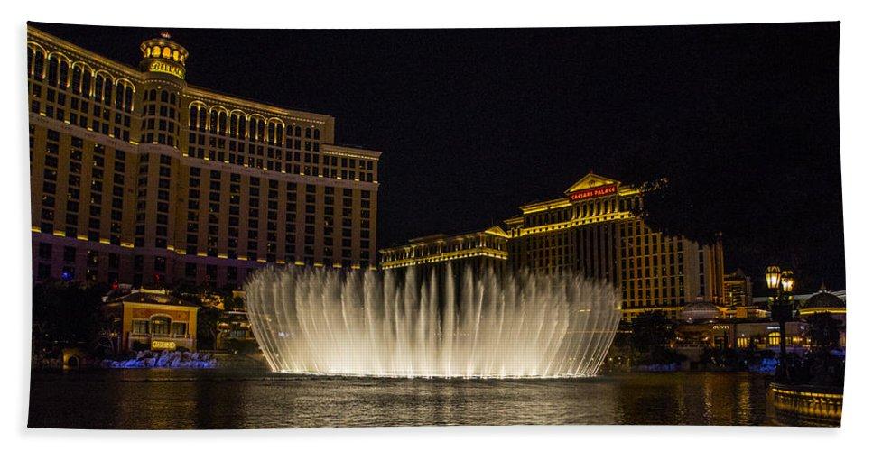 Las Vegas Hand Towel featuring the photograph Dancing Waters 8 by Angus Hooper Iii