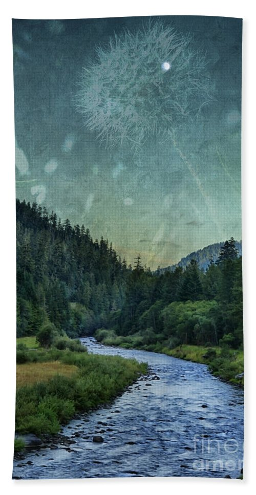 River Hand Towel featuring the photograph Dandelion Moon by Belinda Greb