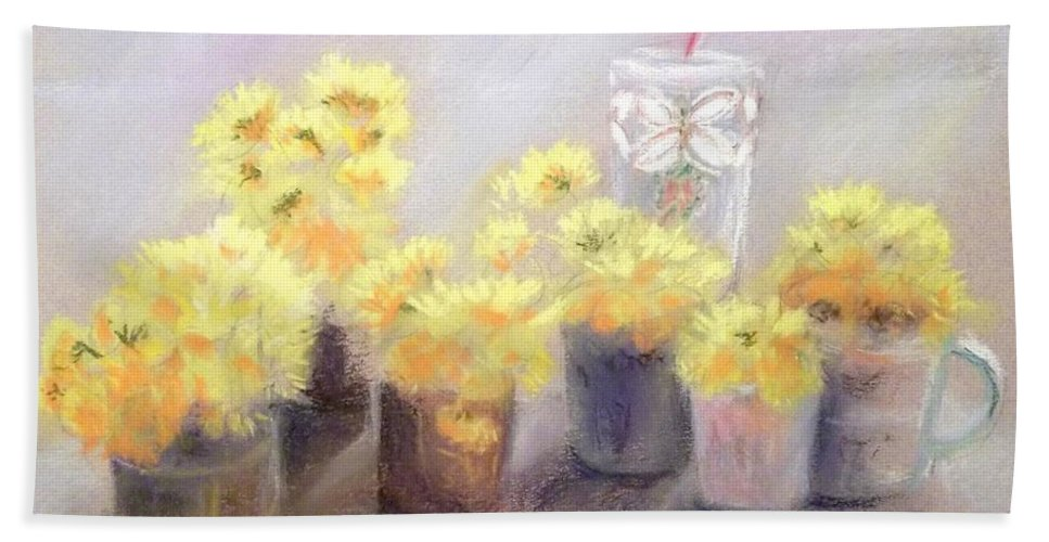 Flower Bath Sheet featuring the pastel Dandelions by Yoshiko Mishina