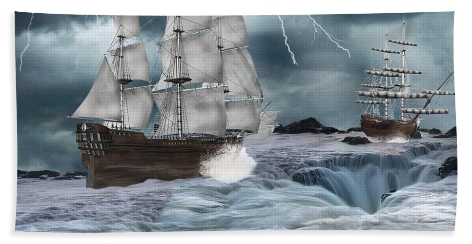Ships Hand Towel featuring the digital art Danger Ahead by Davandra Cribbie