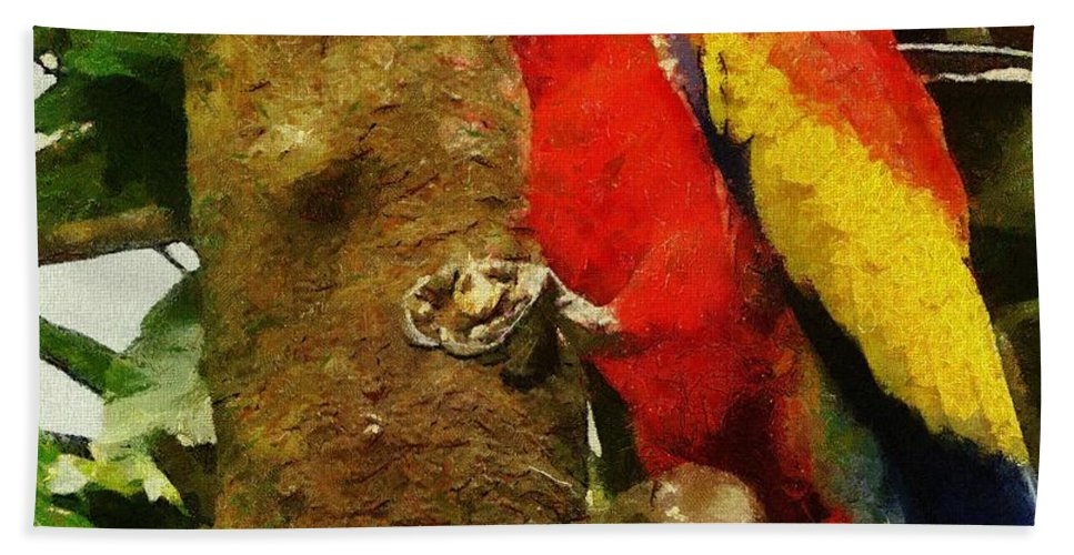 America Hand Towel featuring the painting Danse Macaw by Jeffrey Kolker