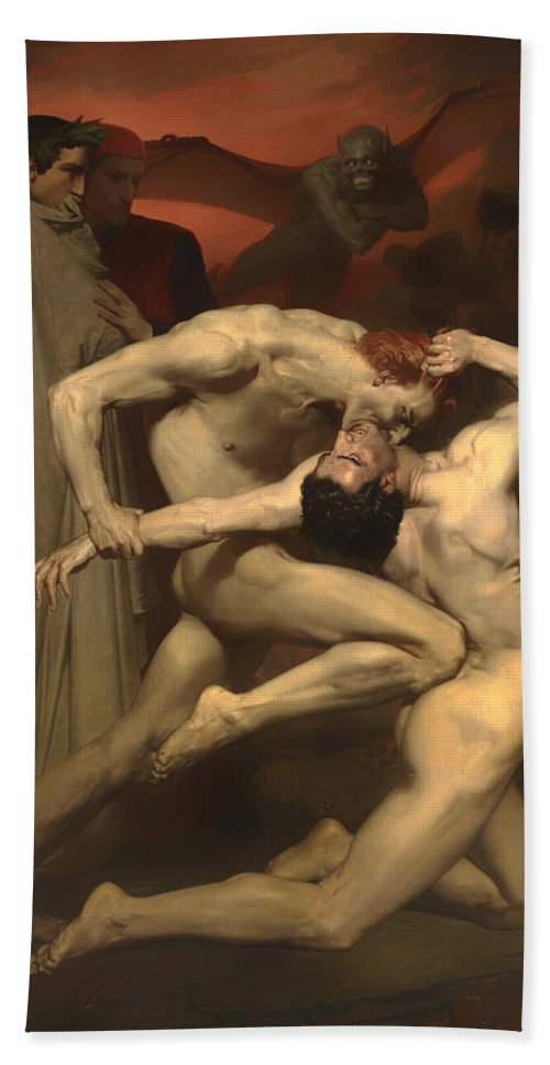 Painting Bath Sheet featuring the painting Dante And Virgil by Mountain Dreams