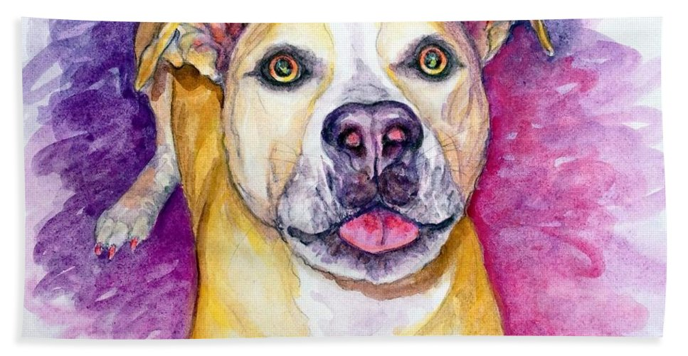 Dog Bath Towel featuring the painting Daphne by Ashley Kujan