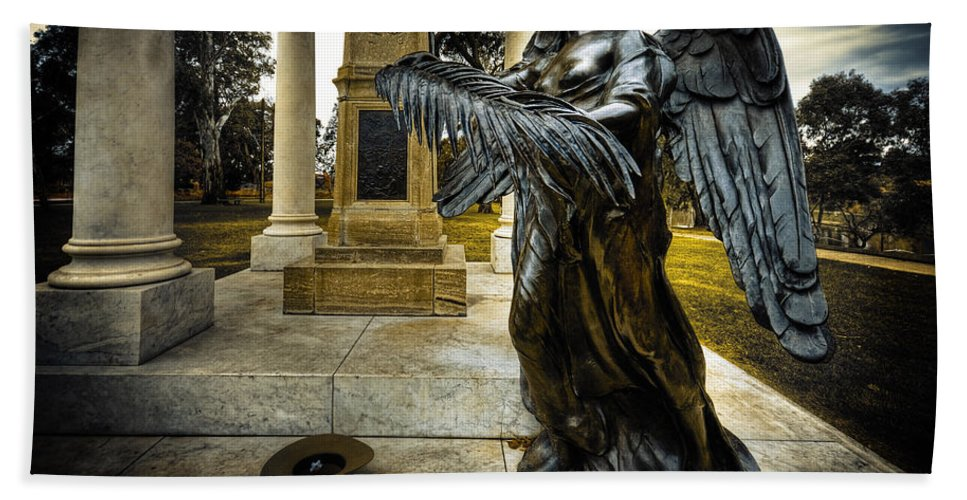 Angel Bath Sheet featuring the photograph Dark Angel by Wayne Sherriff