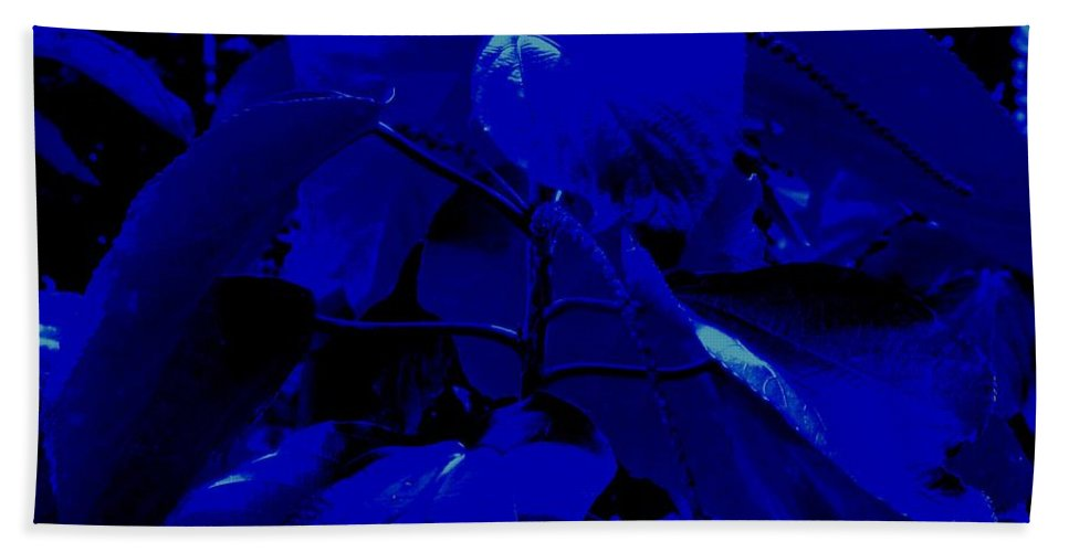 Leaves Bath Towel featuring the photograph Dark Blue Leaves by Ian MacDonald