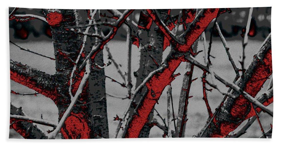 Dark Hand Towel featuring the digital art Dark Branches by Carol Lynch