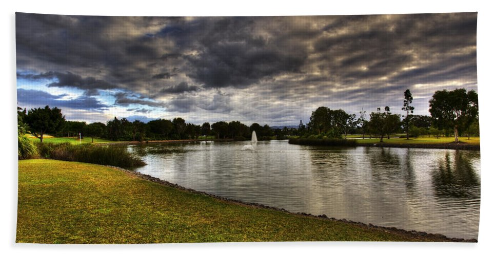 Landscape Hand Towel featuring the photograph Dark Clouds Over Lake by Darren Burton