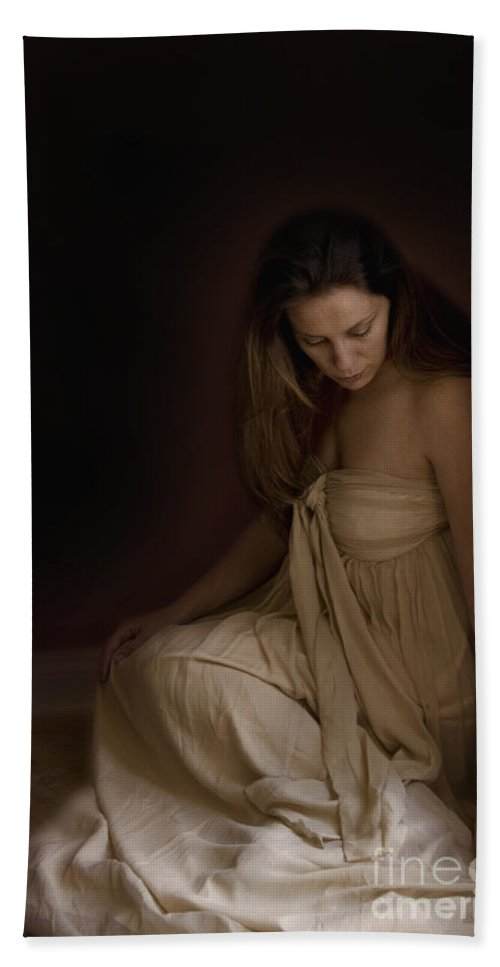 Caucasian; Woman; Lady; Female; Pretty; Beautiful; Brunette; Gold; Golden; Dress; Prim; Proper; Feminine; In Thought; Thinking; Sad; Dark; Darkness; Sitting; Corner; Shadows; Shroud Hand Towel featuring the photograph Dark Corners by Margie Hurwich