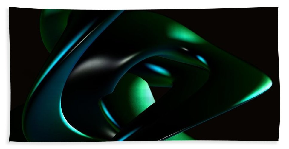 Abstract Hand Towel featuring the digital art Dark Curves by Greg Moores