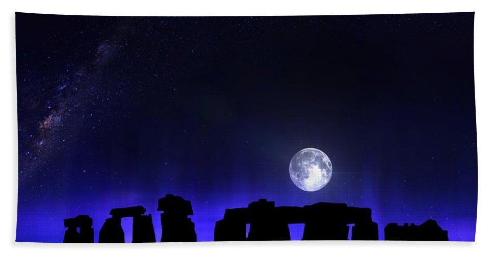 Dark Hand Towel featuring the digital art Dark Henge by Mark Taylor