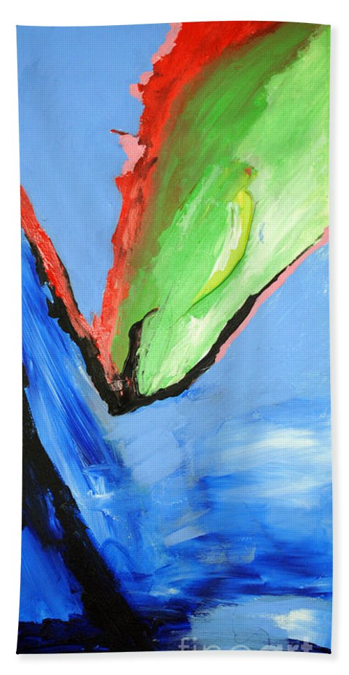Abstract Bath Sheet featuring the painting Dark Horse by George D Gordon III