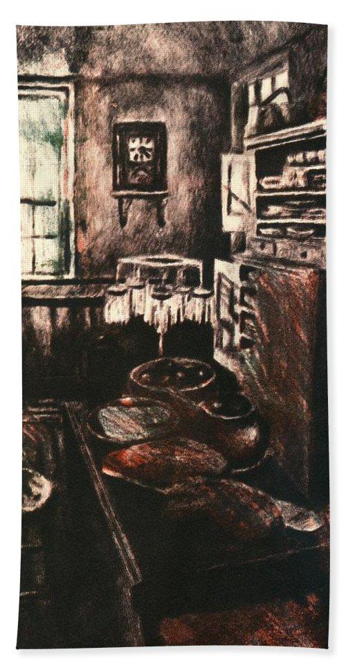 Kitchen Bath Sheet featuring the drawing Dark Kitchen by Kendall Kessler