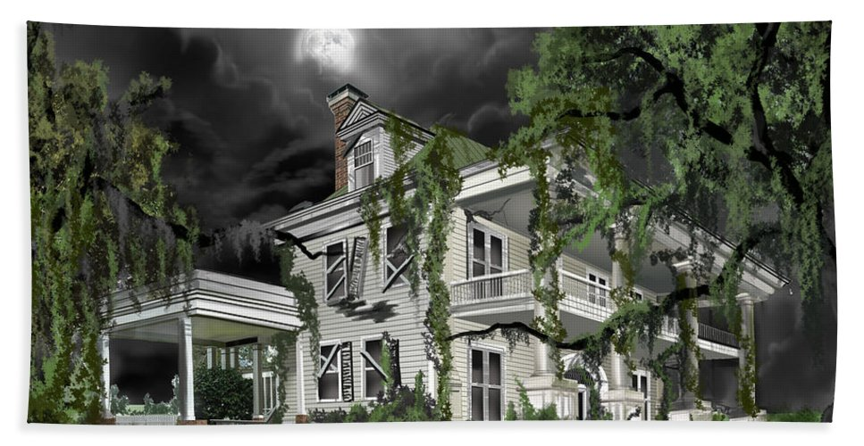 Bath Towel featuring the painting Dark Plantation House by James Christopher Hill
