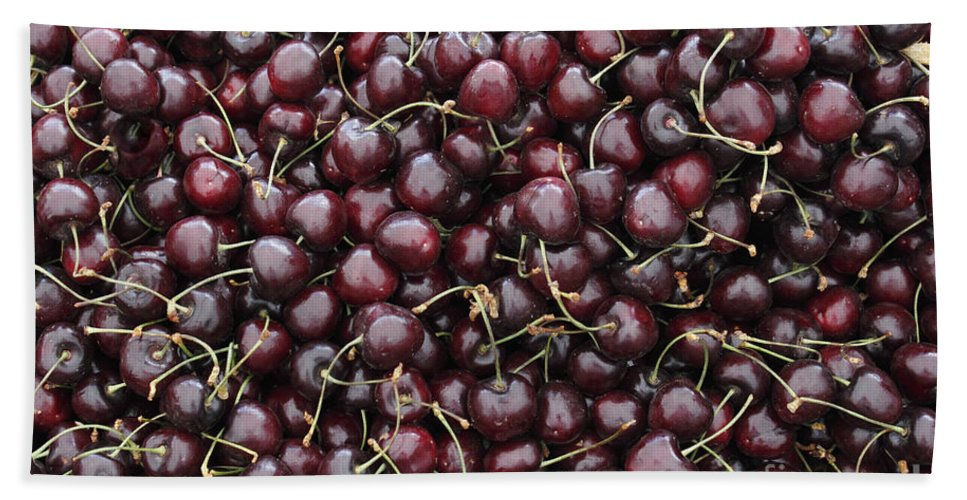 Dark Bath Sheet featuring the photograph Dark Red Cherries In A Market Display by Lee Serenethos