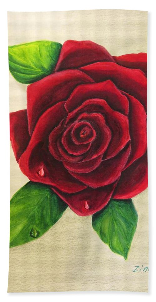 Rose Bath Towel featuring the painting Dark Red Rose by Zina Stromberg