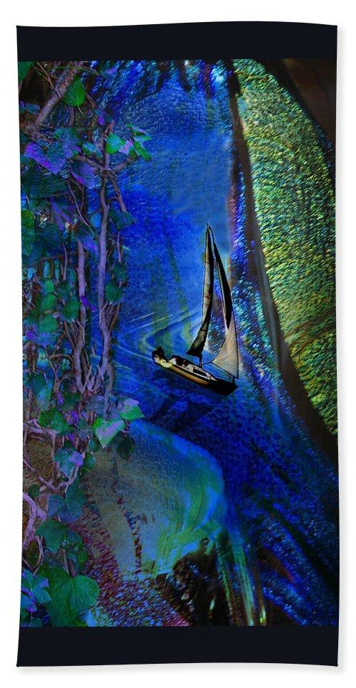 Dark River Hand Towel featuring the digital art Dark River by Lisa Yount