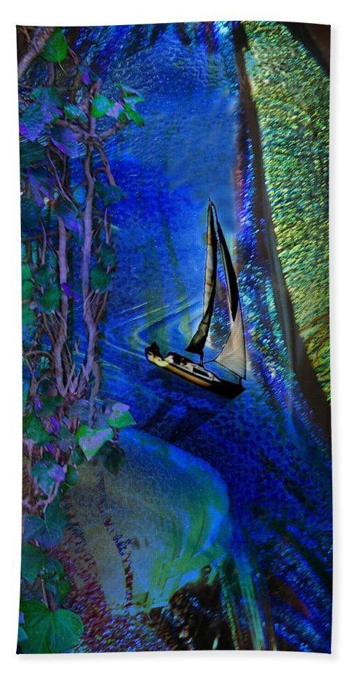 Dark River Hand Towel featuring the digital art Dark River by Lisa Yount