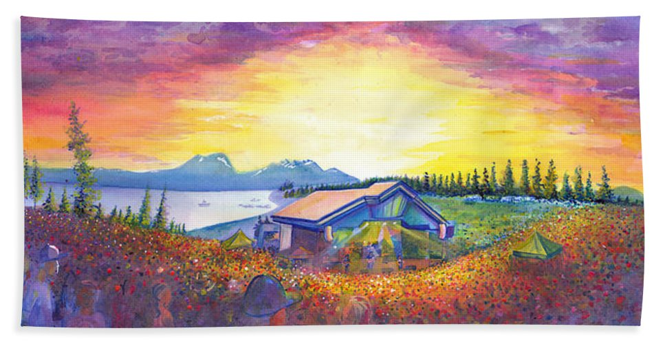 Dso Hand Towel featuring the painting Dark Star Orchestra Dillon Amphitheater by David Sockrider