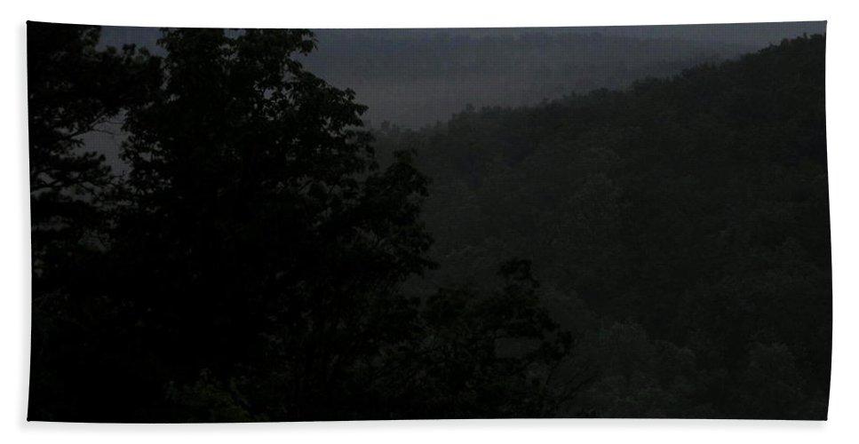 Appalachian Mountain Overlook Images Applachian Vista Dark Vista Appalachian Landscapes Twilight Vista Blue Ridge Overlooks Wild Landscapes Appalachian Forest Ridges Scenic Drives Nocturnal Nature Photography Dark Landscapes Dark View Appalachian Wilderness Nature Prints Preserve The Wild Gothic Landscapes Fine Art Bath Sheet featuring the photograph Dark Vista by Joshua Bales