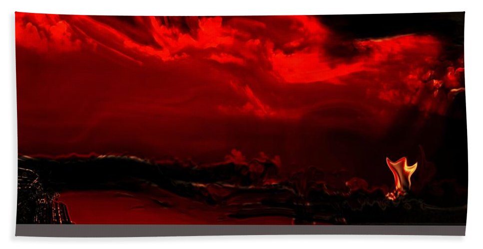 Abstract Hand Towel featuring the digital art Darkest Hour by Richard Thomas