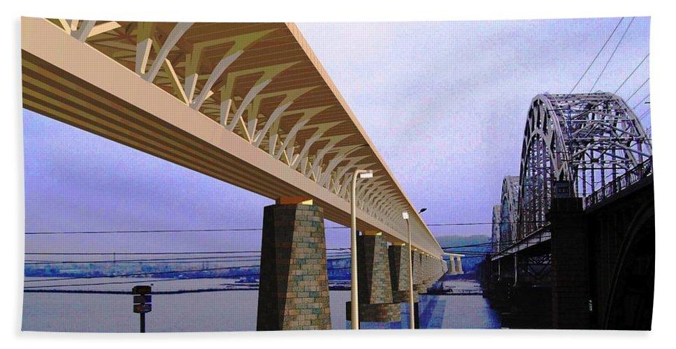 Bridge Concept Bath Sheet featuring the drawing Darnitsky Bridge by Oleg Zavarzin