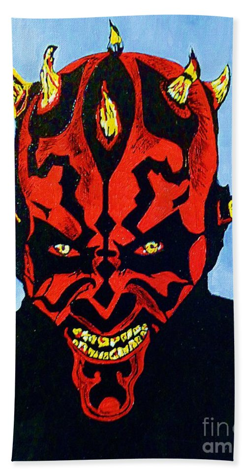 Darth Maul Hand Towel featuring the painting Darth Maul 4 by Saundra Myles