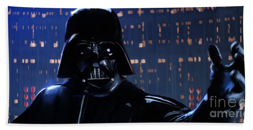 Empire Bath Towel featuring the painting Darth Vader by Paul Tagliamonte