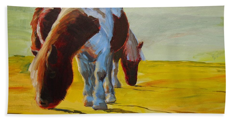 Pony Bath Sheet featuring the painting Dartmoor Ponies by Mike Jory