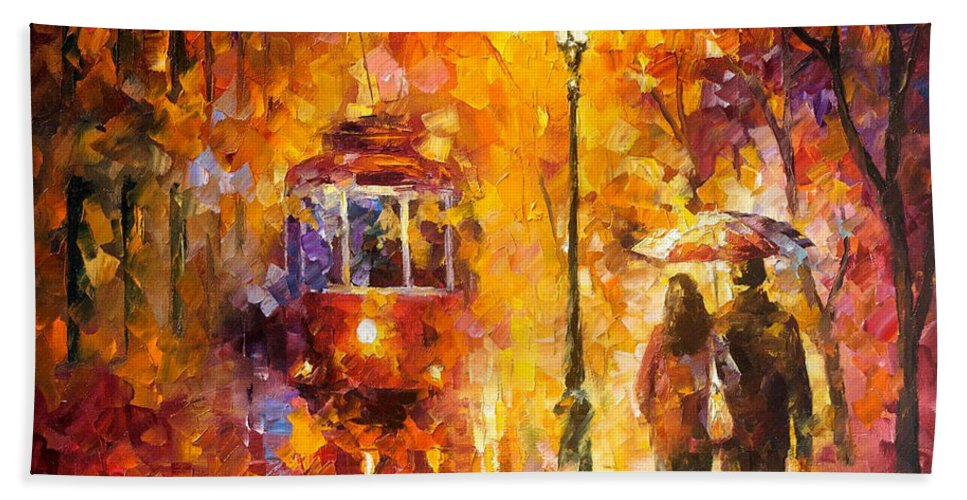 Oil Paintings Bath Sheet featuring the painting Date By The Trolley - Palette Knife Oil Painting On Canvas By Leonid Afremov by Leonid Afremov
