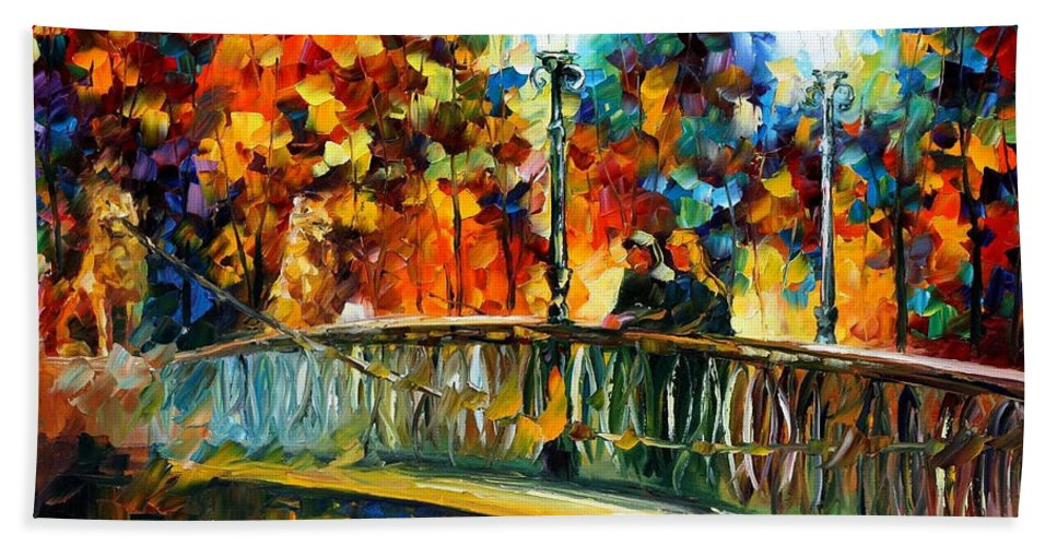 Oil Paintings Bath Sheet featuring the painting Date On The Bridge - Palette Knife Oil Painting On Canvas By Leonid Afremov by Leonid Afremov