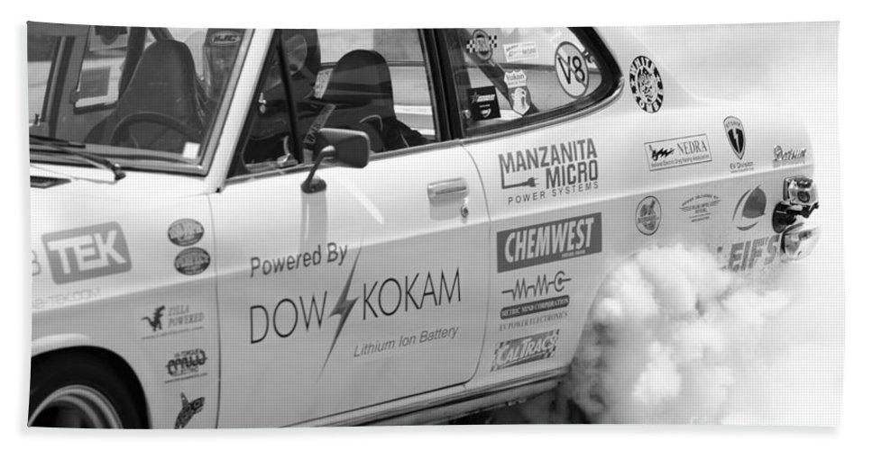 Datsun Bath Sheet featuring the photograph Datsun Smoking Tires by Michael Moriarty